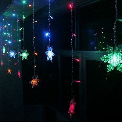96LED Icicle Hanging Snowflake Curtain String Lights Fairy Christmas Party Lamp