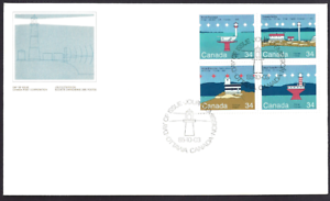 Canada-1063-1066-Block-C-CANADIAN-LIGHTHOUSES-New-1985-Unaddressed