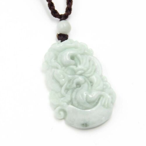 Natural Jadeite Jade Happy Lucky Chinese Zodiac Dragon Yuanbao Amulet Pendant
