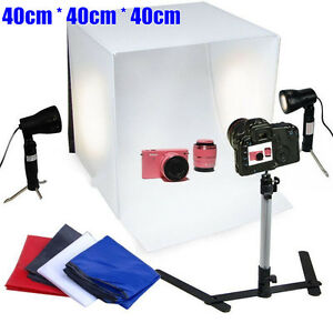 Photography-Studio-40cm-Cube-Lighting-Tent-Soft-Box-4-Color-Backdrops-Light-Kit