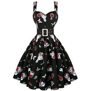 6b61acb9a701 Hell Bunny Drink Me Alice noir lapin blanc 1950 S Vintage Thé Robe ...