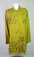 Anthony Original 2x Gold Button Front Long Sleeve Shirt Embellished Embroidered