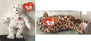 Set of 2 Ty McDonalds Teenie Beanies  Glort the Bear  &  Freckles the Leopard