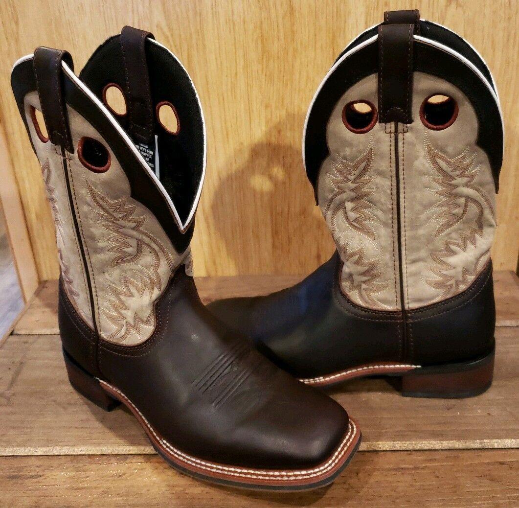 Larojoo hombre cuero botas de vaquero occidental Collarojo Marrón Bronceado 7886 8.5EW