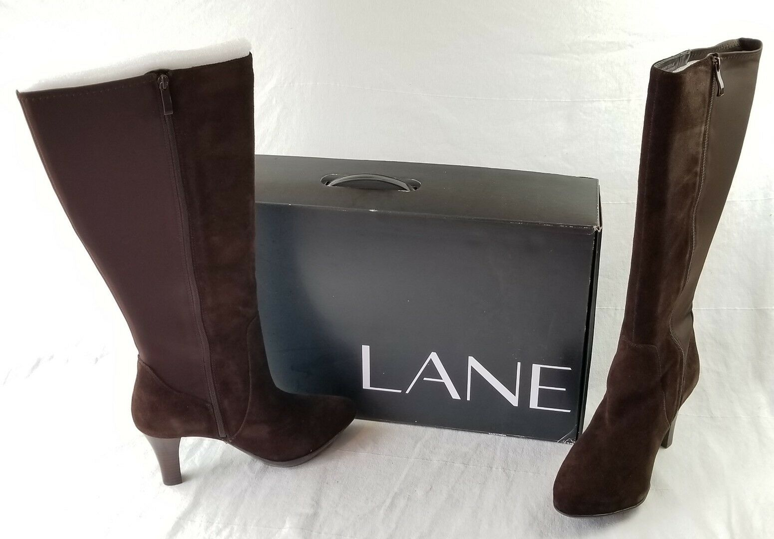 Lane Bryant Leather Collection Camila Brown Tall 19  Boots Size 10 W NEW boxed