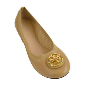 Image is loading Tory-Burch-Caroline-2-Leather-Ballet-Flats-Elastic-