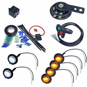 Details about LED Turn signal kit with 4way & horn for ATV scooter moped  4x4 fourwheeler quad