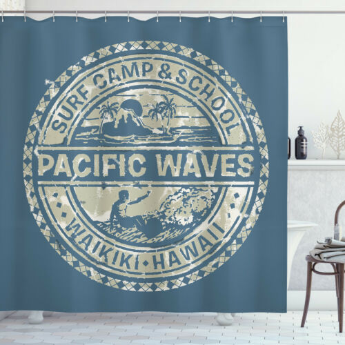 Details about  /Holiday Shower Curtain Pacific Waves Surf Camp Print for Bathroom