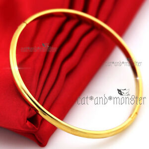 18K-PLAIN-YELLOW-GOLD-FILLED-CLASSIC-ROUND-BAND-WOMEN-SOLID-BANGLE-BRACELET-60MM