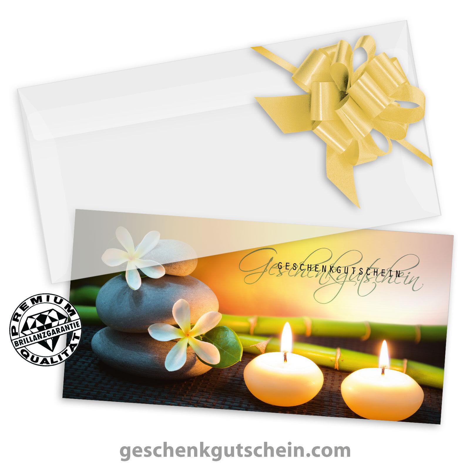 Gutscheinkarten  DINlang  mit KuGrüns und Schleifen für Kosmetik Wellness KS9220