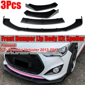 3X-Carbon-Fiber-Look-Front-Bumper-Lip-Splitter-For-Hyundai-Veloster-2013-2017