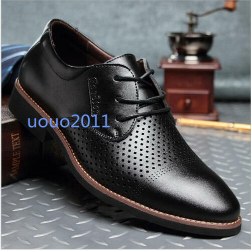 Mens Hole Made Breathable Pointy Toe Business Lace Up Formal Dress Leisure Shoes