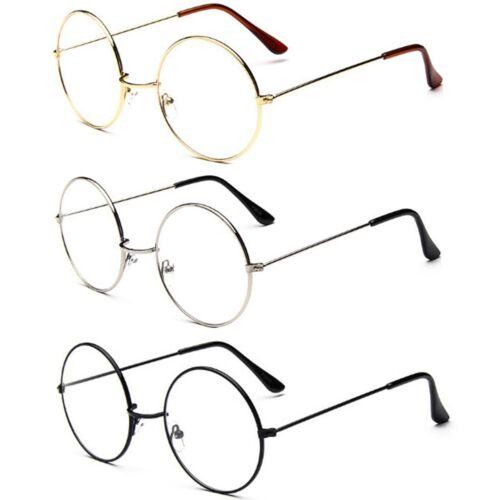 Frauen Männer Große Übergroße Metallrahmen Klare Linse Runde Kreis Brillen Neu