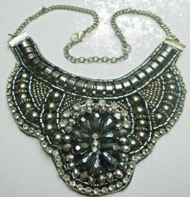 Collier Superbe Plastron Couleur Argent Perles Hématite Cristaux Bijou Vintage
