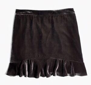 9bb2dacf2 NEW Madewell $98 velvet ruffle-edge skirt Size8 G8353 In Dark Metal ...