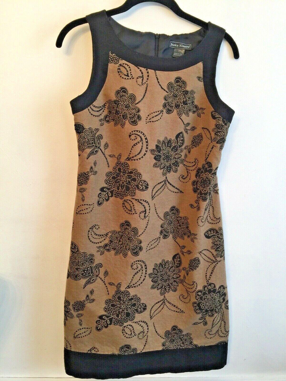 6 Jessica Howard Lined Sleeveless Sheath Dress Brown Black Beaded