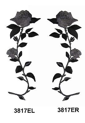 "#3817E 7 1//4/"" Black,Grey Rose Flower Embroidery Iron On Appliqué Patch"