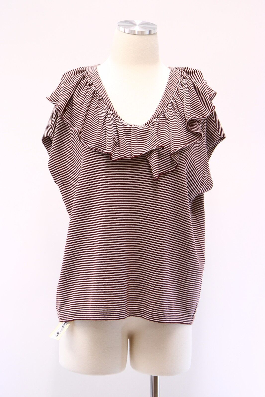 NWT 1645 Brunello Cucinelli Cashmere-Wool Striped Striped Striped Ruffled Collar Knit Top M A176 65e893