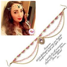 Hijab Pin Wedding Bridal Tikka Hair Bracelet jewellery Head piece gold pink 2