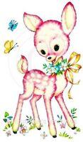 Vintage Image Shabby Pink Baby Nursery Deer Butterflies Waterslide Decals An676