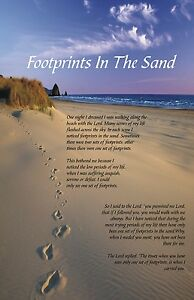 Footprints In The Sand Inspirational Poster 11x17 Laminated | eBay