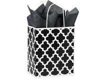 100 Paper Shopping Bags With Handles Black And White Wholesale Bulk 8x4x10 Cub