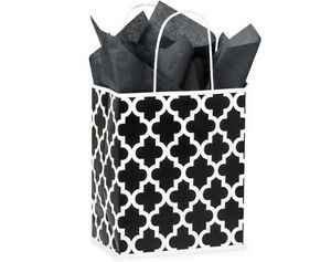 100 Paper Gift Shopping Bags With Handles Black Amp White