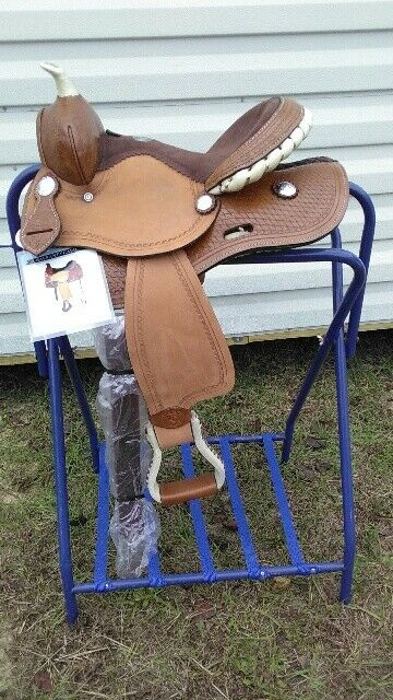 12 Western Leather Youth Pony Trail Horse Barrel Saddle w Laced Cantle 31512
