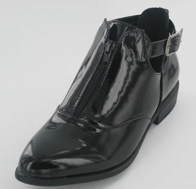 F50402 Mujer Charol Negro Tobillo Botas Cremallera & Hebilla Adorno Gran Precio | eBay