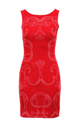 Ladies Black Navy Red Beige Mirror Print Beaded Party Bodycon Womens Dress 8-14