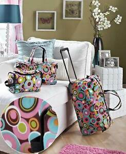 3-Pc-Trendy-Luggage-Set-GEO-CIRCLES-Rolling-Suitcase-Duffel-Tote-Bag-amp-Clutch