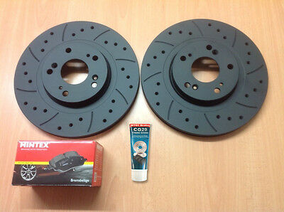 Civic Type R EP3 Front Drilled Grooved MTEC Brake Discs & Mintex Pads & Lube