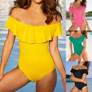 a17e1fe2f2cce Women s Flounce Off Shoulder Vintage Monokini Swimwear One Piece ...