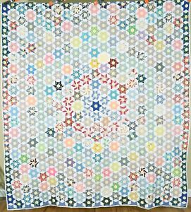 Vintage 40's Touching Stars Antique Quilt ~SMALL SCALE & CONCENTRIC DESIGN!