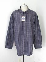 Saddlebred Blue Plaid Lightweight Poly Cotton Bd Dress Shirt Big Tall 4x