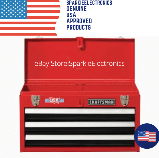 PORTABLE 3 FULL EXTENSION DRAWERS RED TOOL BOX, GARAGE ...