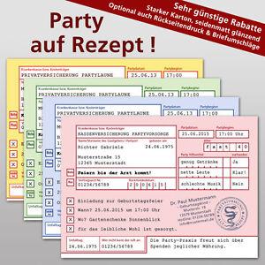 Das Bild Wird Geladen Privatrezept Arztrezept Einladungskarten Einladung  Geburtstag Party
