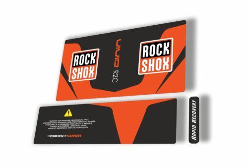 Rock Shox Vivid R2C 2015 Rear Shock Factory MTB Decal Sticker Adhesive Orange