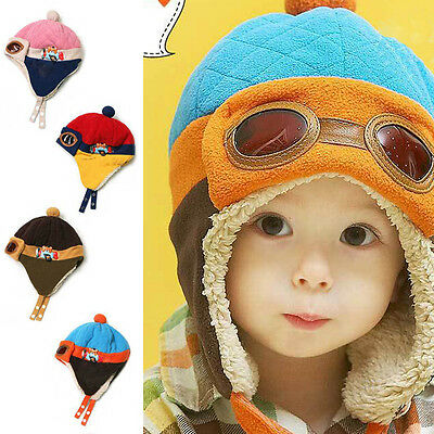 Toddlers Cool Baby Boy Girl Kids Infant Winter Pilot Warm Cap Hat