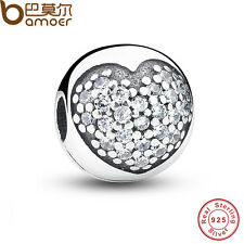 European Solid S925 Sterling Silver Charms Round Ball With Crystal Fit Bracelets