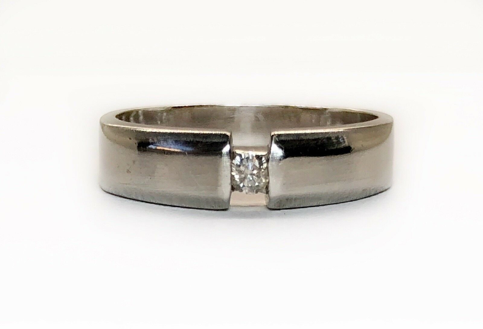 18k Solid White Gold Natural Diamond Solitaire Ba… - image 7