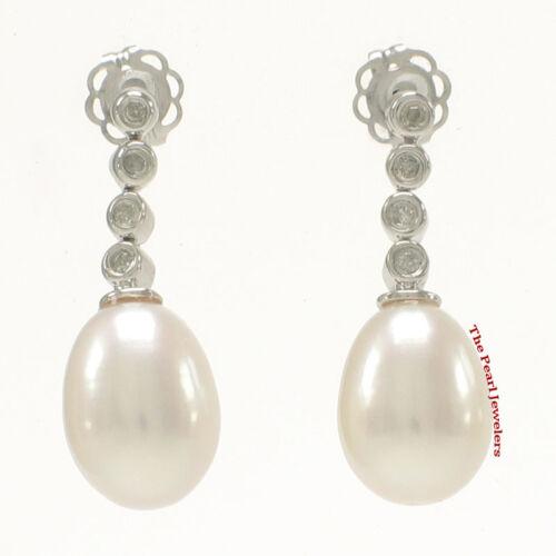 Mousseux diamants /& Véritable Perle Blanche Dangle clous d/'oreilles 14k Or Blanc TPJ