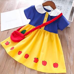Girls-Kids-Snow-White-Princess-Cute-Doll-Collar-Short-Sleeves-School-Party-Dress