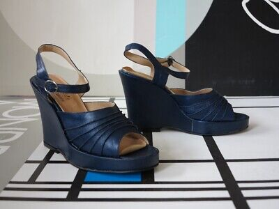 Amabile Scarpe Plateau Damenshuhe Estate Scarpe 39 Blu 90er True Vintage 90s Shoes Nos-mostra Il Titolo Originale Comodo E Facile Da Indossare