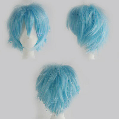 Women/Men New Cosplay Wig Black White Pink Short Full Head Wigs Synthetic Soft D