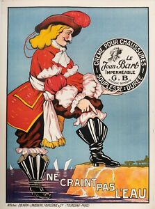 Original-Vintage-Poster-JEAN-BART-CIRAGE-Corsair-Pirate-BOOT-1930