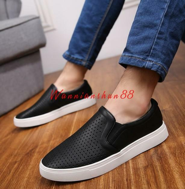 New Mens British faux leather round toe sneaker Casual Slip ON Loafer shoes