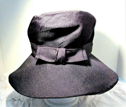Vintage 1930s Navy Blue Wide Brim Hat With Grosgr… - image 1