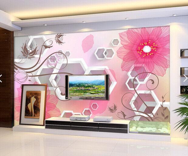 3D Hazy Pink Flower 7 Wall Paper Murals Wall Print Wall Wallpaper Mural AU Lemon
