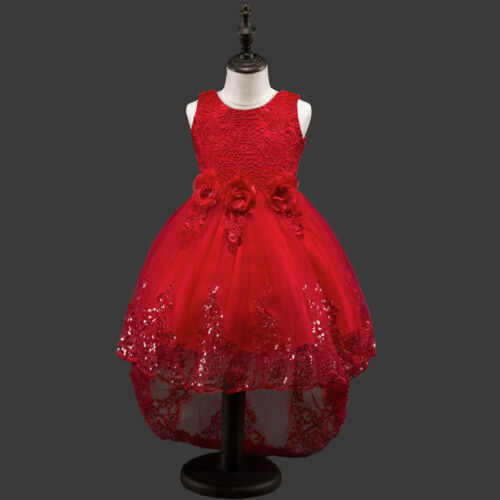Girls Kids Bow Flower Lace Sequins Party Formal Wedding Pageant Princess Dress